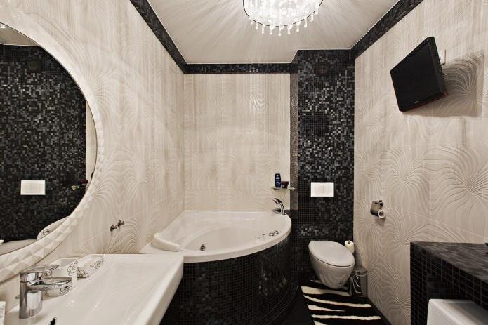 Conception de salle de bain d'angle dans un style moderne