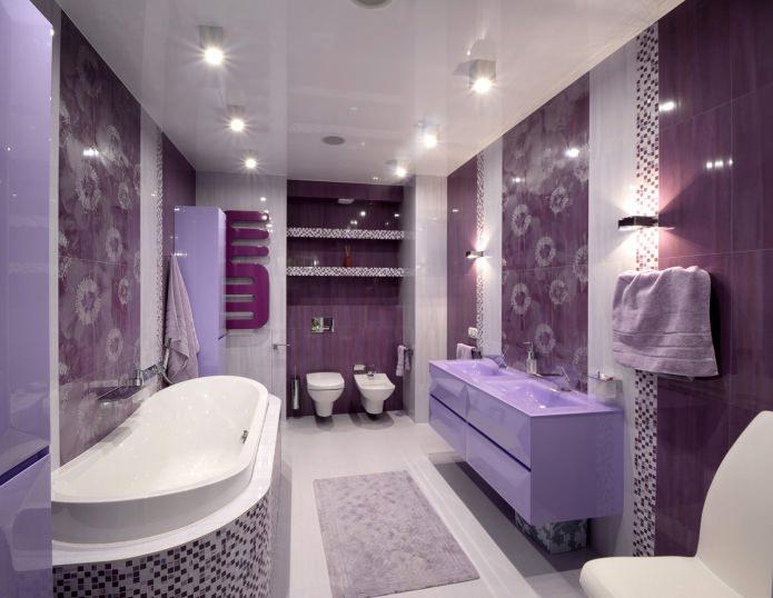 intérieur de salle de bain violet dans un style moderne
