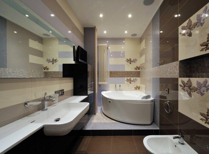 intérieur de la salle de bain avec un podium dans un style moderne