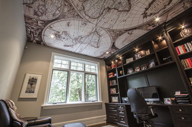 Plafond tendu avec impression photo à l'intérieur du bureau à domicile