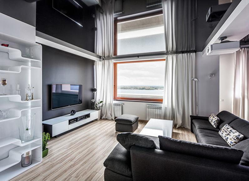 Plafond tendu noir brillant dans le hall (salon) - photo