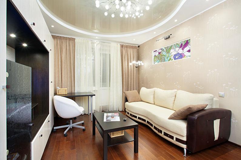 Plafond tendu beige dans le hall (salon) - photo
