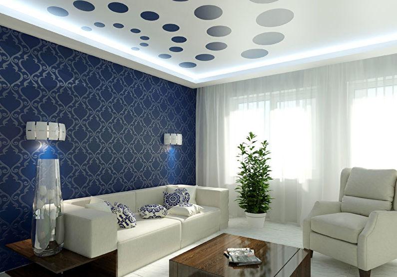 Plafond tendu blanc dans le hall (salon) - tirage photo