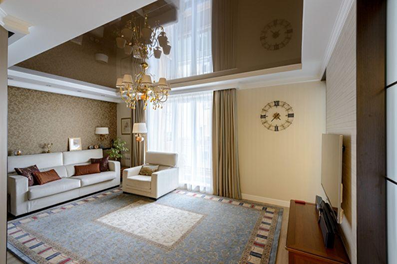 Plafond tendu marron dans le hall (salon) - photo