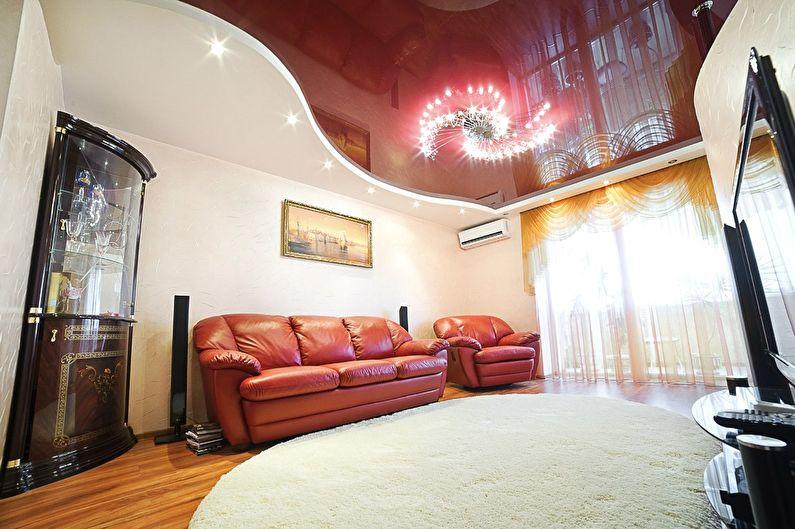 Plafond tendu rouge dans le hall (salon) - photo