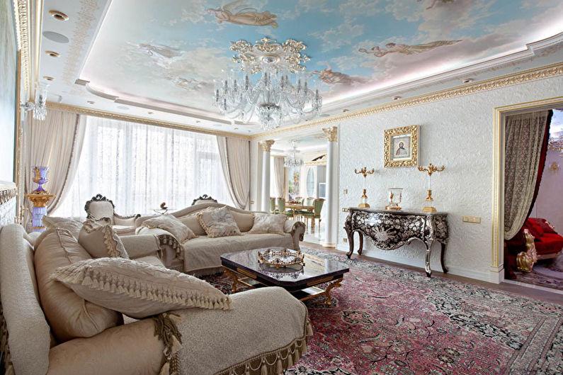Plafond tendu avec impression photo dans le hall (salon) - photo