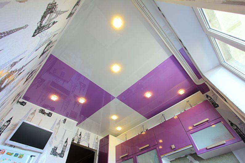 Plafond tendu dans la cuisine - photo