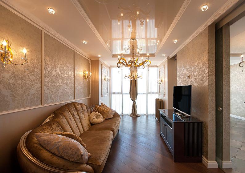 Plafond tendu dans le hall (salon) - photo