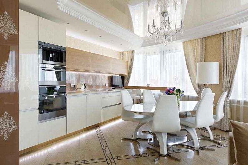 Plafond tendu beige dans la cuisine - photo