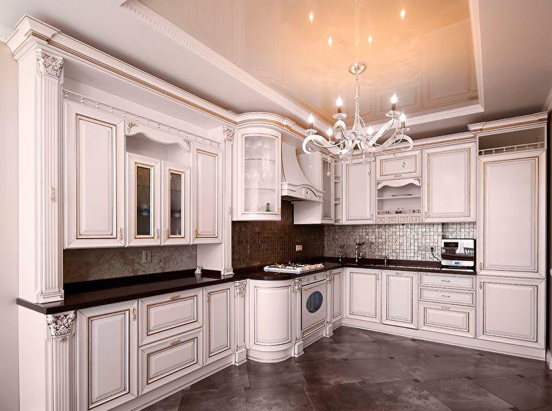 Plafond tendu à deux niveaux dans la cuisine - photo