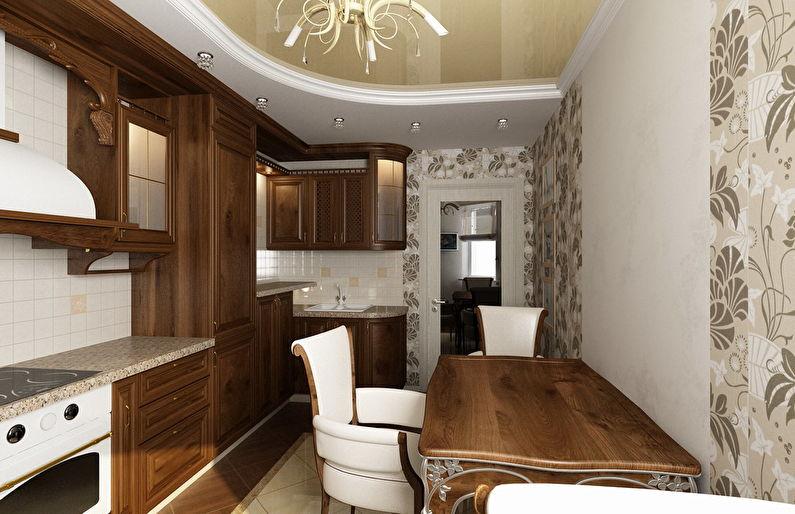 Plafond tendu brillant dans la cuisine - photo