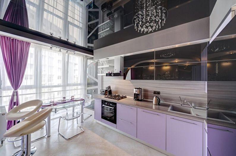 Miroir plafond tendu dans la cuisine - photo