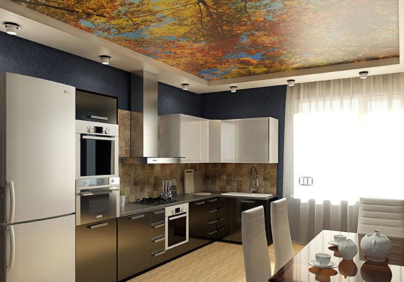 Plafond tendu dans la cuisine - impression photo