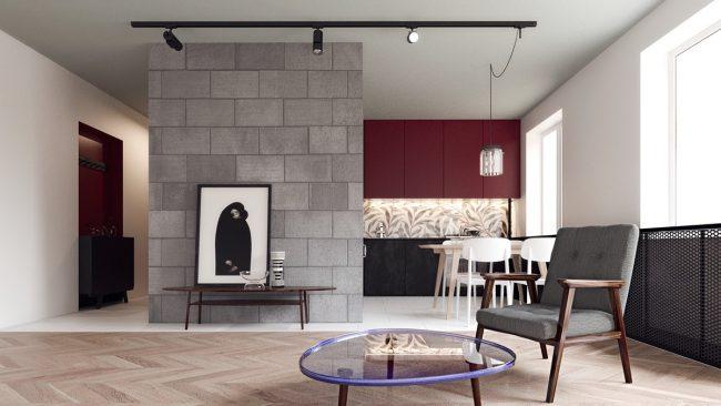 L'appartement est un hommage au modernisme soviétique, la direction déterminante de l'architecture et de l'esthétique, qui a remplacé l'empire stalinien dans les années 1960.  Conception: studio Concretica