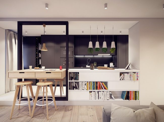 Salon multifonctionnel avec cuisine: un projet de logement compact moderne du studio PLASTE[R]LINA (Pologne)