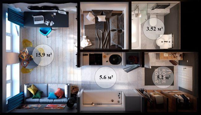 Aménagement d'un logement compact et confortable d'une superficie de 30 m2.  m