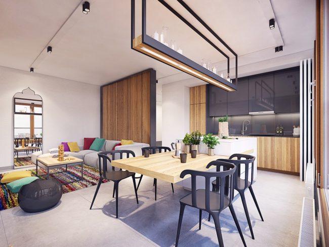 L'utilisation de couleurs riches pour un zonage clair donne visuellement à ces appartements de Varsovie une apparence plus grande qu'ils ne le sont vraiment.  Conception - Plaste[r]lina, Lodz, Pologne