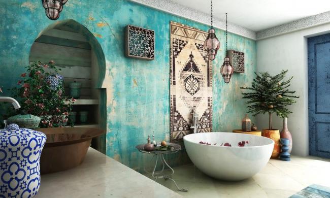 Salle de bain de style oriental