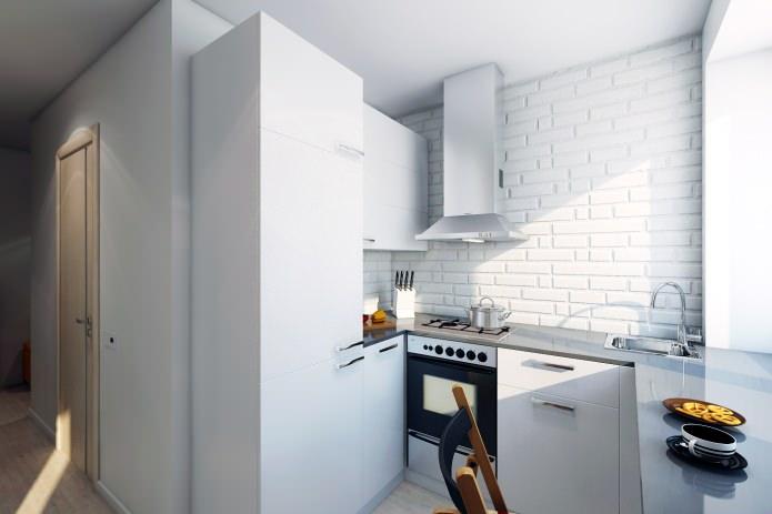Brique blanche à l'intérieur de la cuisine