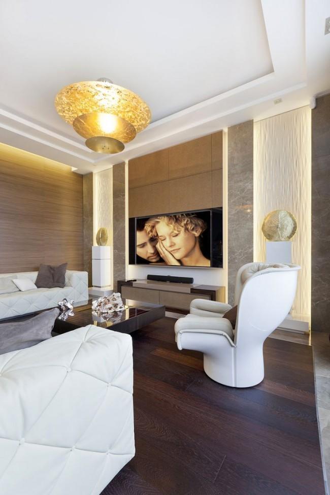 Le salon moderne de style art déco combine les matériaux de finition et les meubles les plus chers et les plus luxueux
