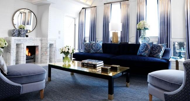 Magnifique salon dans les tons bleus et violets