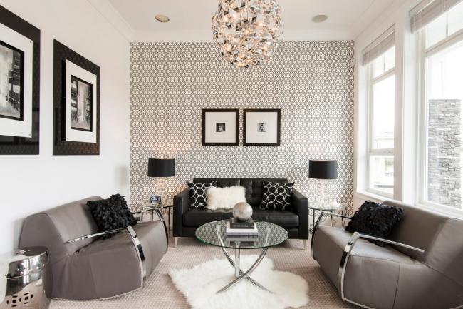 Intérieur de salon monochrome dans un style classique moderne