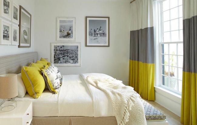 La couleur blanche combinée avec des nuances de jaune et de gris rend la pièce plus fraîche et lui ajoute du contraste.
