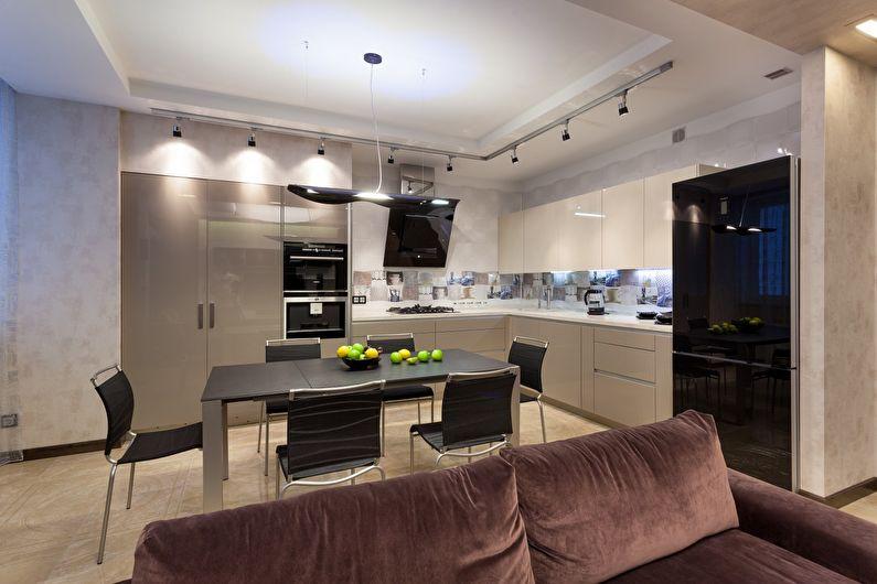 Conception de plafond en plaques de plâtre dans la cuisine