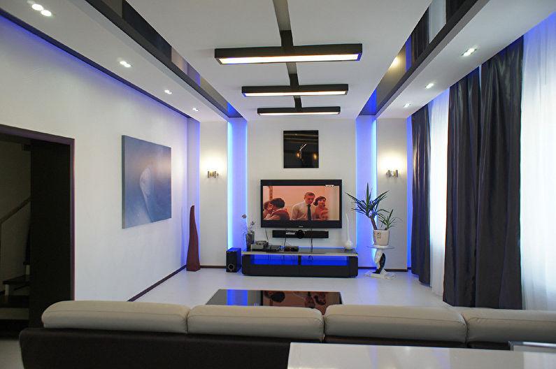 Conception de plafond en plaques de plâtre dans le salon