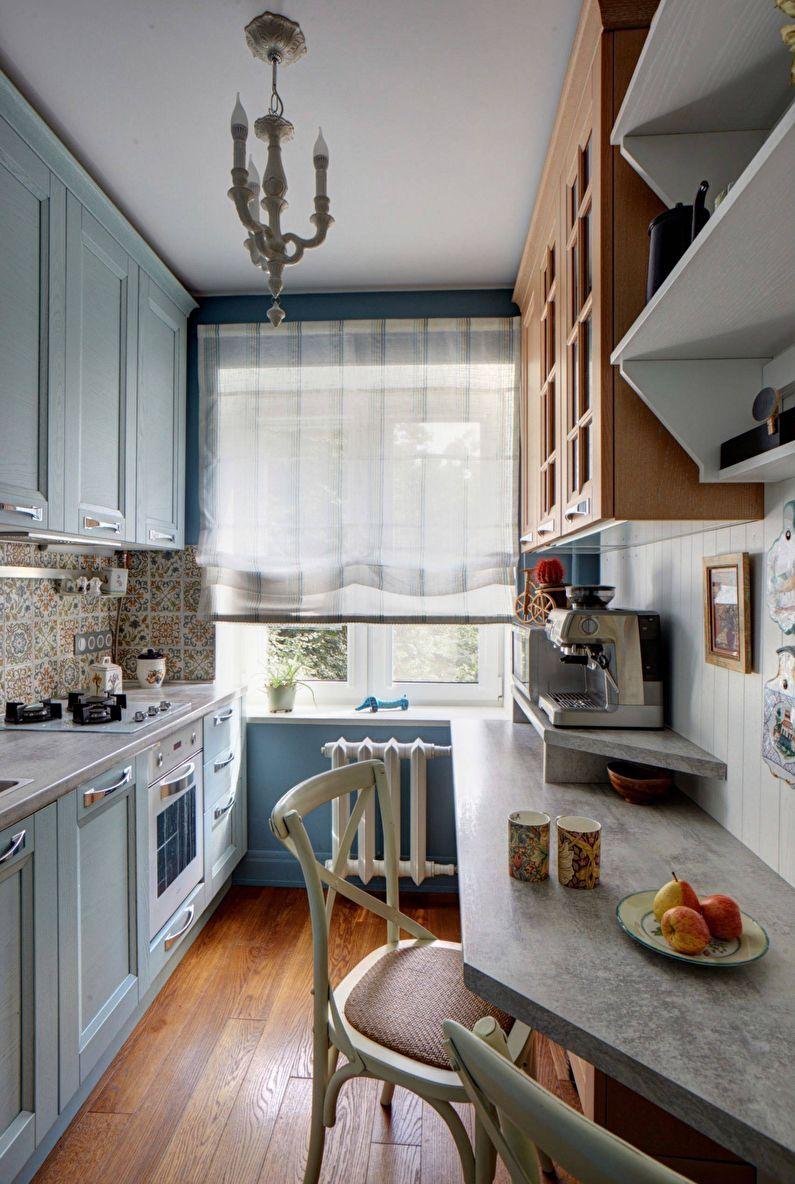 Petite cuisine étroite (rectangulaire) - design d'intérieur