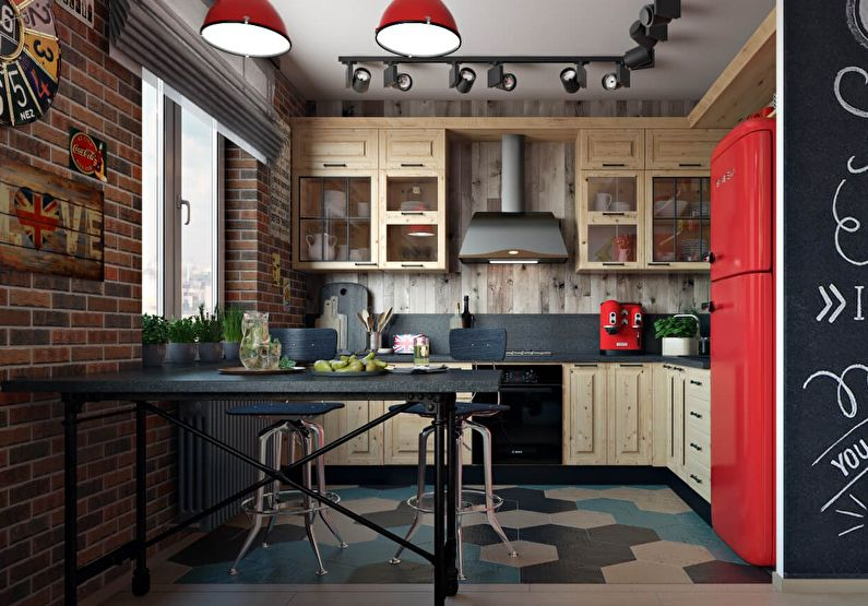 Petite cuisine de style loft - design d'intérieur