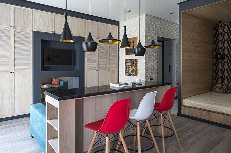 Design d'intérieur d'un appartement d'une pièce, Moscou