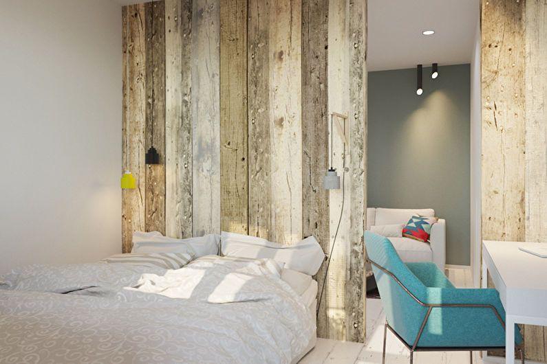 Conception d'un appartement d'une pièce dans le style du minimalisme