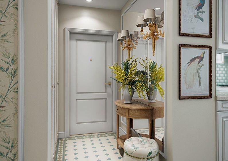 Conception d'un petit couloir dans un style classique