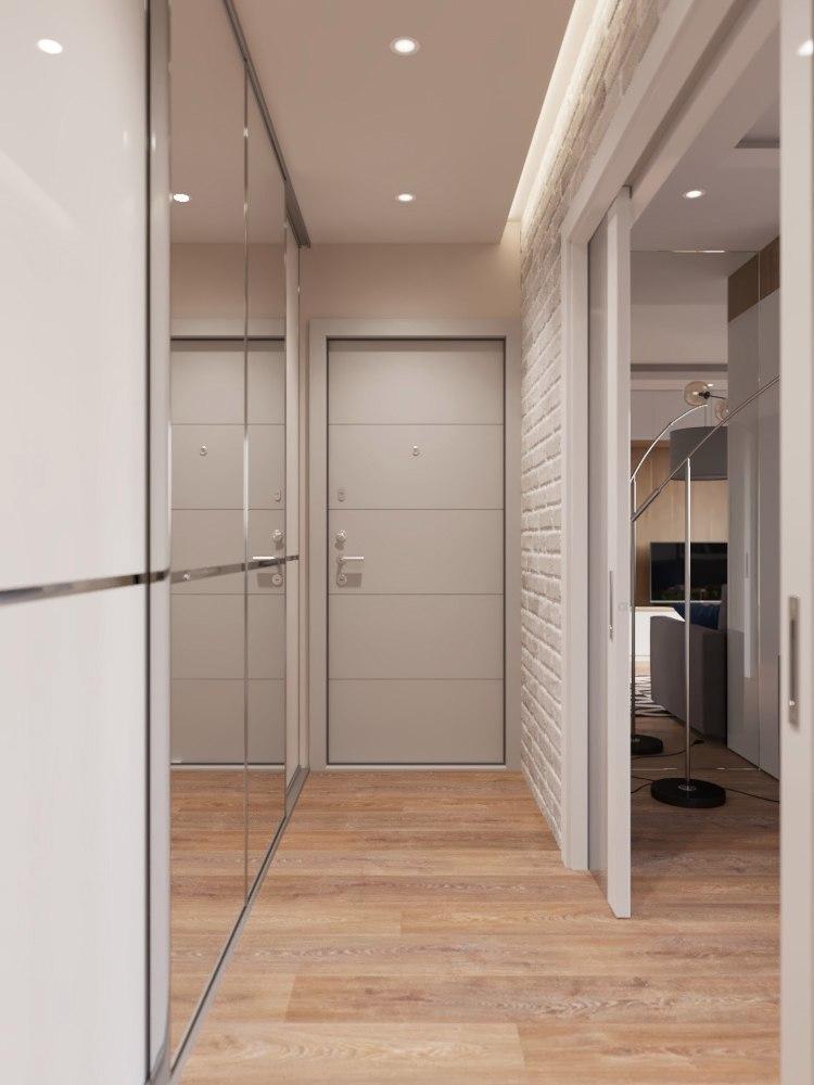 Petit couloir de couleur beige - design d'intérieur