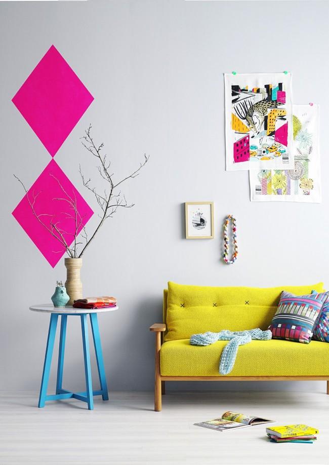 Une combinaison spectaculaire de rose et de jaune à l'intérieur