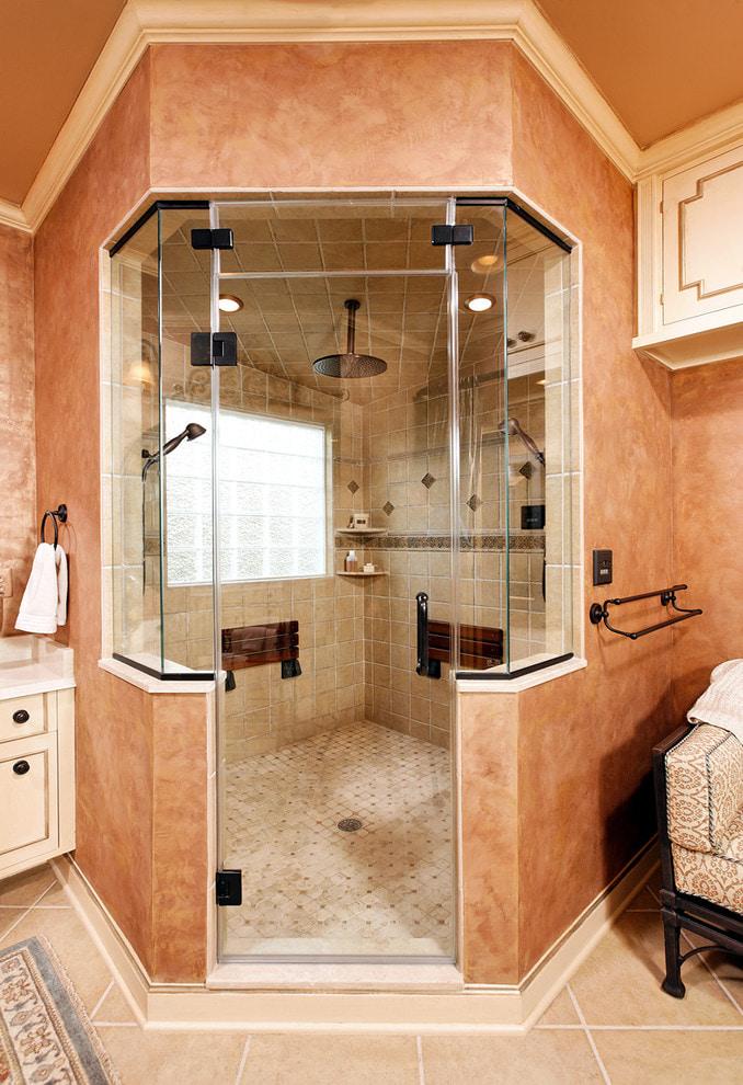 murs de salle de bain pêche