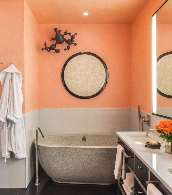 salle de bain gris pêche