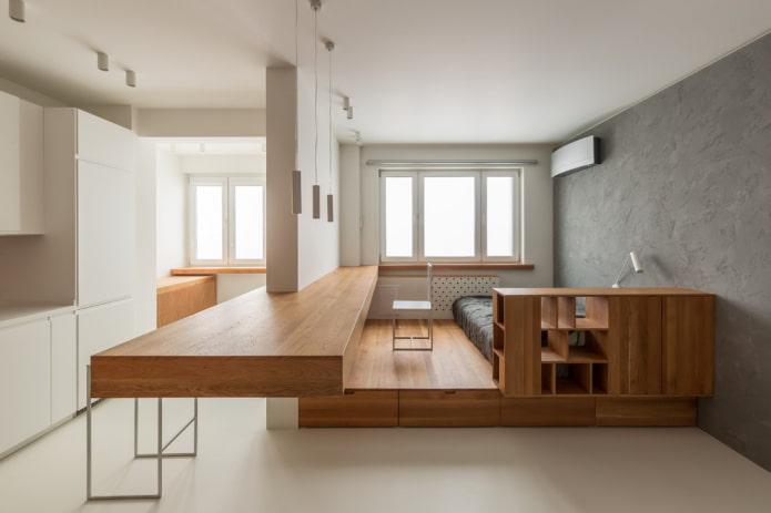 intérieur d'un studio avec deux fenêtres