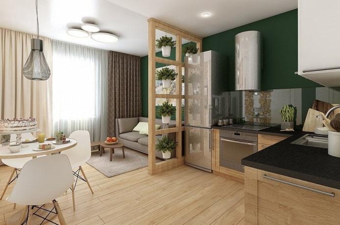 intérieur d'un studio avec une fenêtre