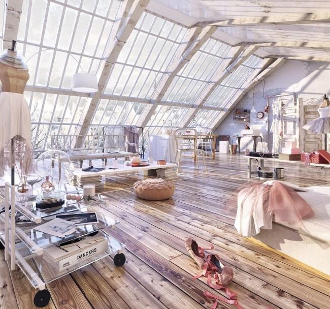 L'une des pentes du toit est entièrement vitrée, ce qui rend la pièce remplie d'air et de lumière.  Ce projet a été créé pour le concours annuel