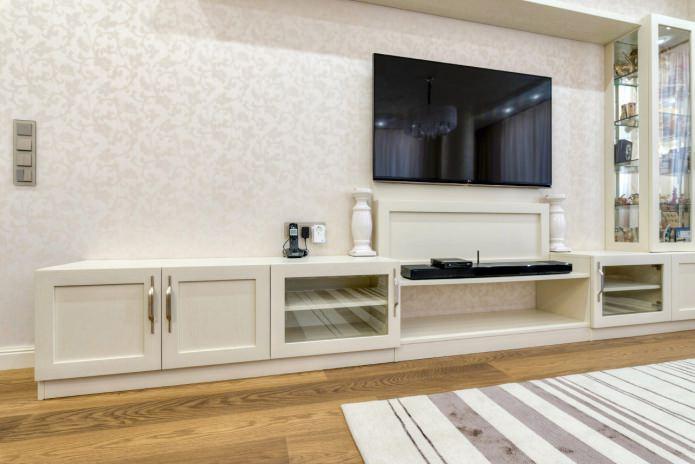 papier peint blanc dans la conception du salon