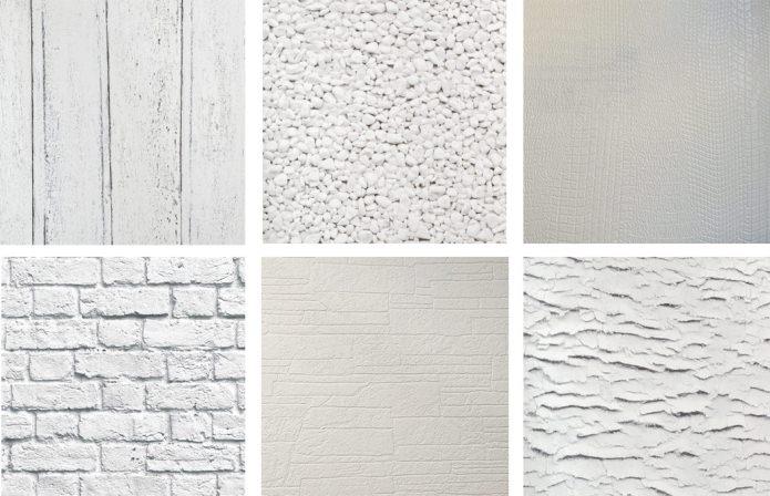 papier peint blanc imitant divers matériaux