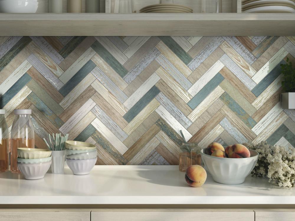 tablier en mosaïque dans la cuisine