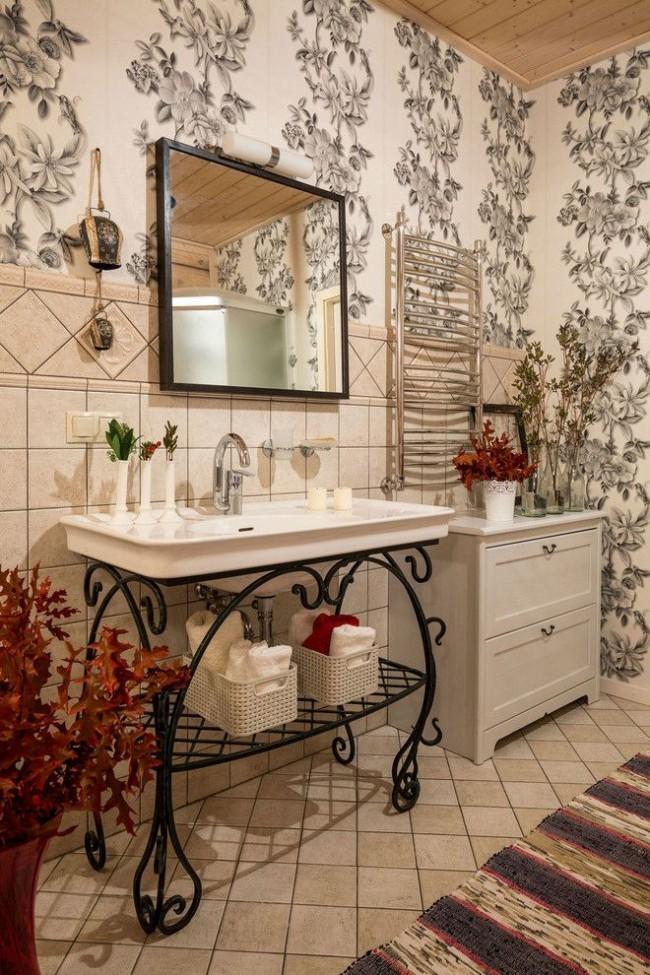 Papier peint en vinyle avec un motif dans la salle de bain