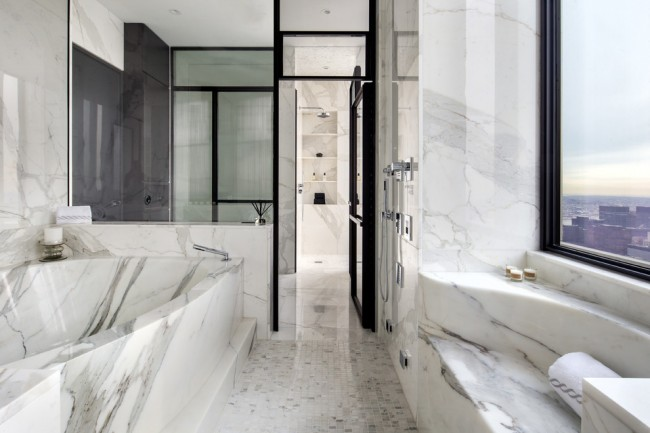 La baignoire d'angle en marbre ajoutera de l'extravagance à votre intérieur