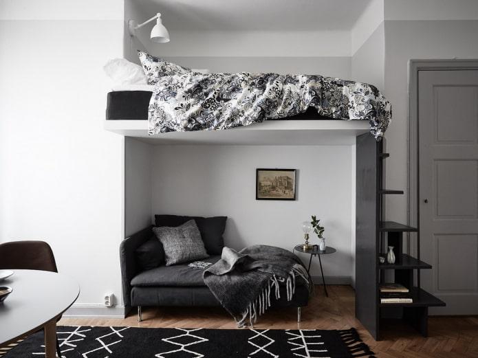 disposition des meubles dans une pièce individuelle avec une niche