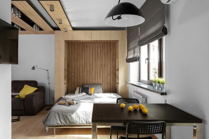 niche avec un lit à l'intérieur de l'appartement