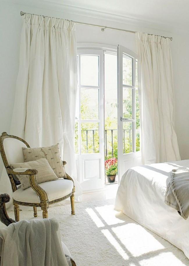 Conception de rideaux pour la chambre en tissu de coton blanc
