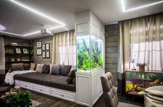 zonage de la pièce avec éléments décoratifs